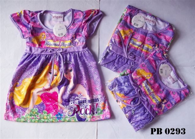 Dress motif princess purple / dress anak / dress baby / pakaian anak