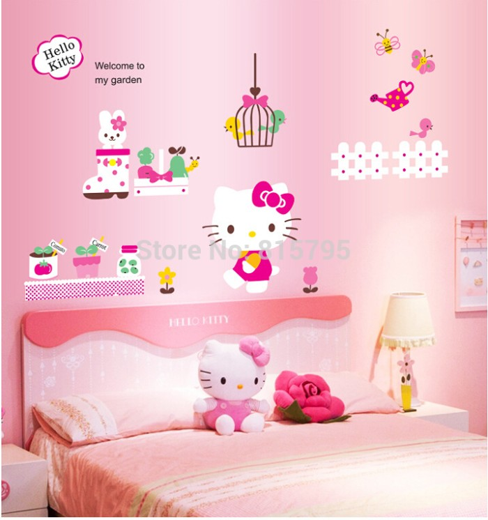 jual wall sticker cc6933 wallsticker - stiker dinding hello kitty