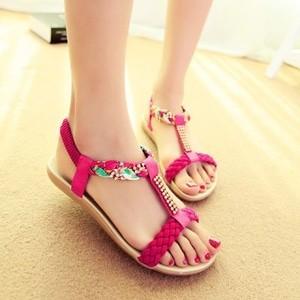 Sandal / Sendal Flat Kepang Pink Murah