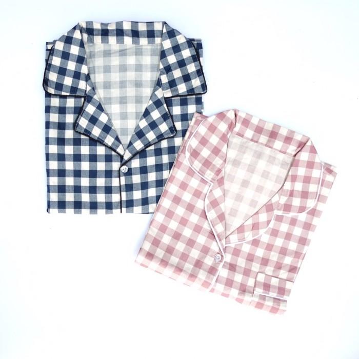 Foto Produk Sleepwear Baju Tidur Piyama Pasangan Couple Katun Jepang Kotak dari Stashy Sleepwear