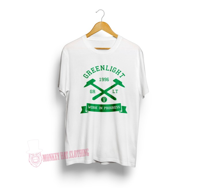 T-SHIRT / KAOS GREEN LIGHT WORK IN PROGRESS WHITE 0504 - DEAR AYSHA
