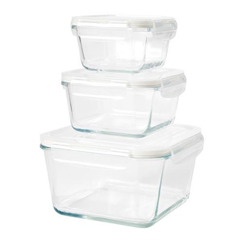 Ikea fortrolig ~ 3 set kotak makan kaca bening | glass food container