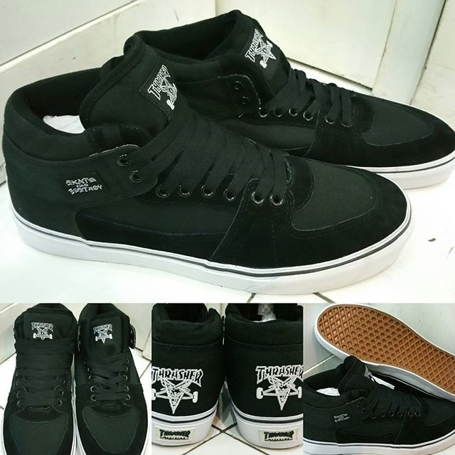 99f6bdaa12 Sepatu kets skate vans half cab thrasher skate and destroy black…