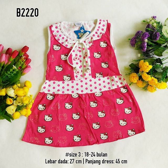 Baju bayi murah | dress anak kutung motif hello kitty pink merah ungu
