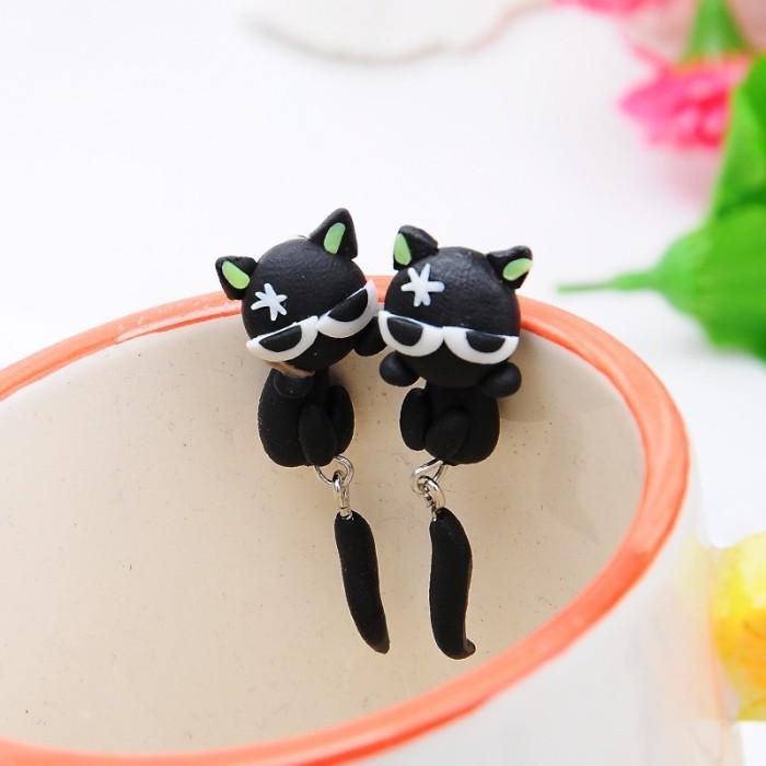 Anting lucu handmade clay / tanah liat import - black cat