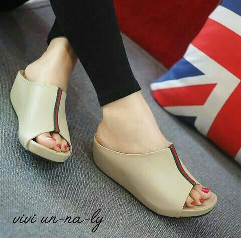 harga Mr01 cream sandal sendal wedges slop flip flop cantik wanita murah Tokopedia.com