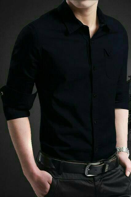 Foto Produk [MYLER BLACK] pakaian hem pria kemeja cowok slim fit baju warna hitam dari Rifa t-shirt