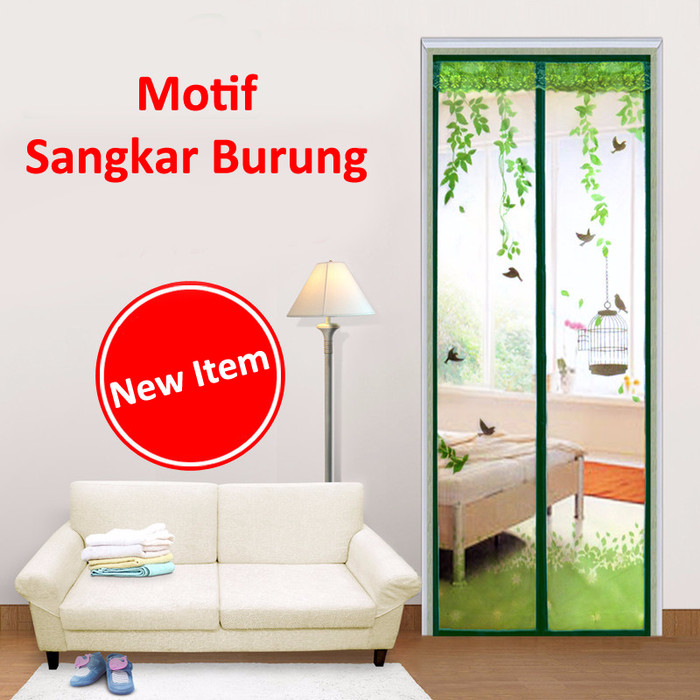 Tirai Pintu Magnet Anti Nyamuk Magnetic Curtain Magic Mesh Love Bird .