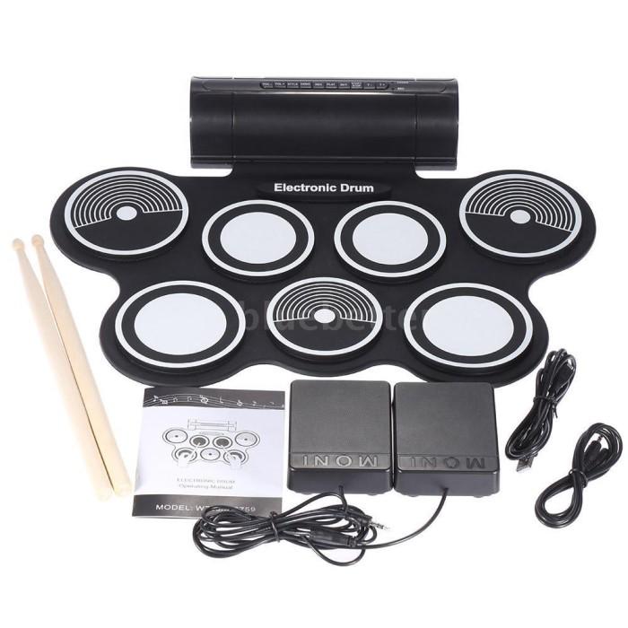 harga Portable roll up drum pad set kit with built-in speaker (no cd) Tokopedia.com