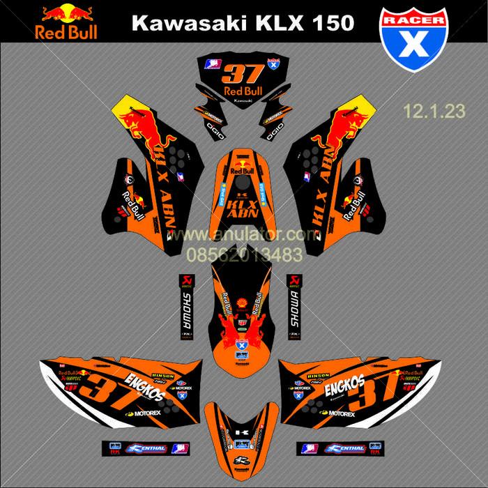 Sticker striping motor stiker Kawasaki KLX / D-Tracker Engkos Spec A