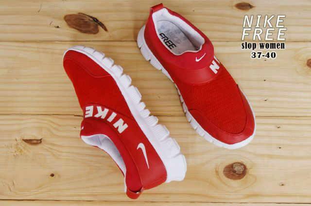 sepatu wanita nike free slop made in vietnam import red white 36-40