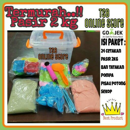 Foto Produk Pasir Kinetik Mainan Anak Jumbo Set C (Isi Pasir 2kg) dari TOKO SPREI BAGUS