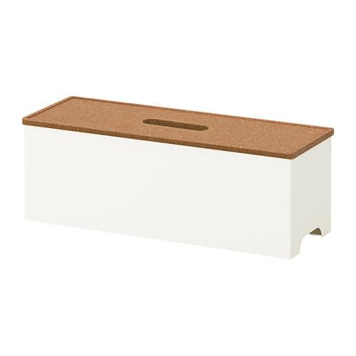IKEA KVISSLE Kotak pengaturan kabel, gabus, putih