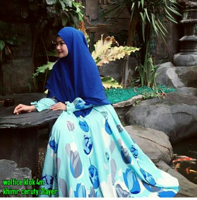 harga Gamis wanita/maxi/busana muslim/hijab/gamis syari tulip blue Tokopedia.com