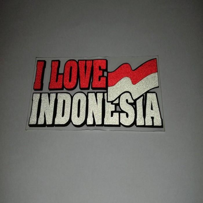 Stiker Cutting bendera Indonesia 'I love You Indonesia' - 2 pcs