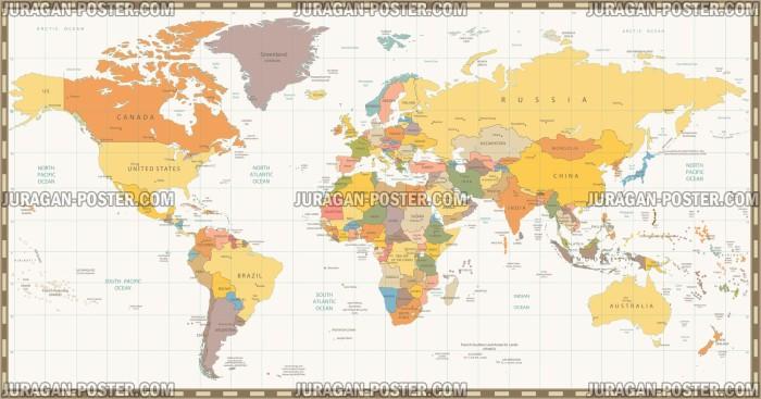 Jual Poster Gambar Peta Dunia 035 120x228cm Bingkai Juragan Wwwgambar