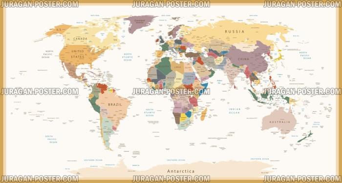 Jual Poster Gambar Peta Dunia 038 150x280cm Bingkai Juragan Wwwgambar
