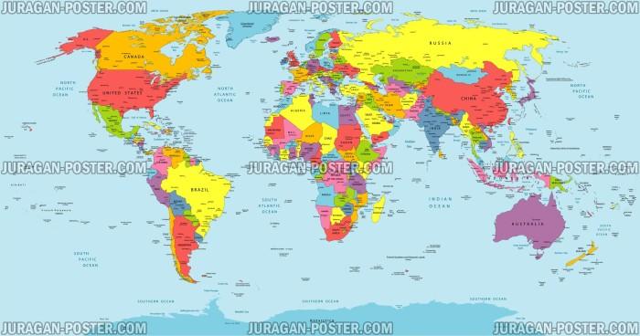 Jual Poster Gambar Peta Dunia 029 120x228cm Bingkai Juragan Indonesia
