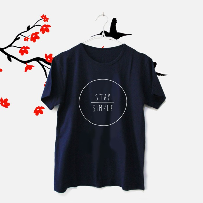 Tumblr Tee / T-Shirt / Kaos Wanita Lengan Pendek Stay Simple Navy