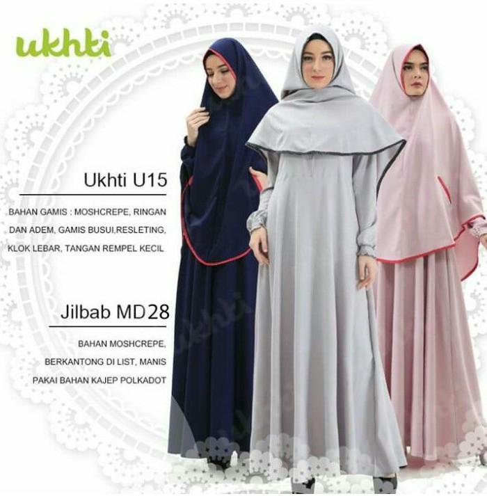 Gamis Set Syari Ukhti U 15 dan Jilbab MD 28 Hitam Size XL