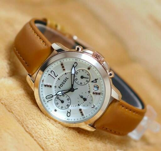 Jam tangan fossil wanita leather brown