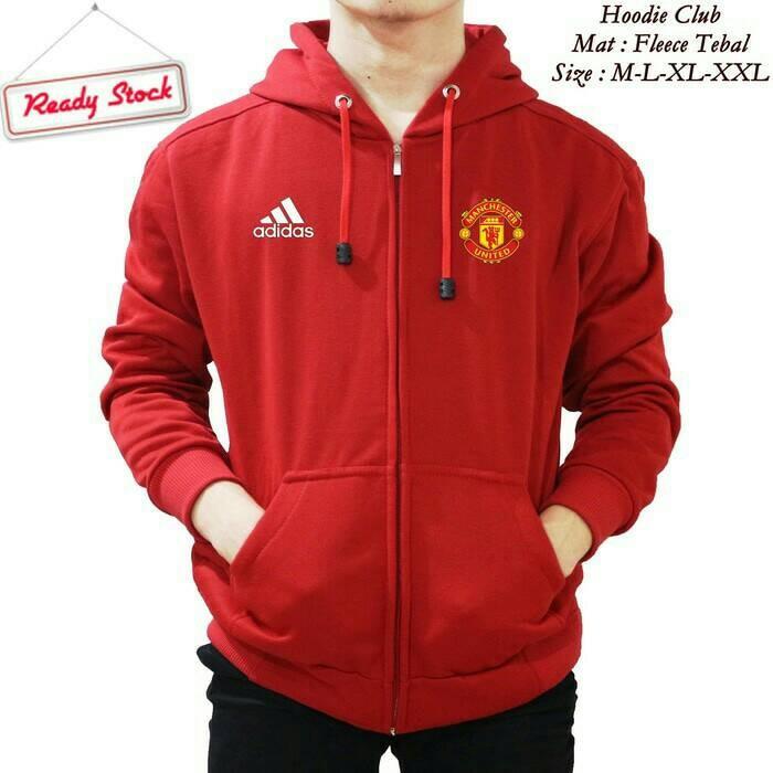 harga Jaket hoodie zipper bola manchester united (merah cabe) Tokopedia.com