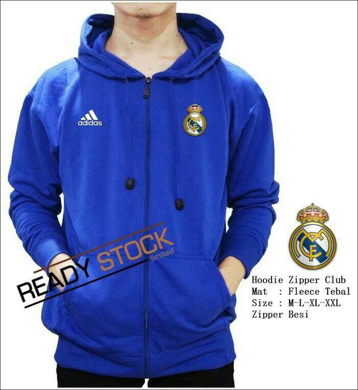 harga Jaket hoodie zipper bola real madrid biru Tokopedia.com