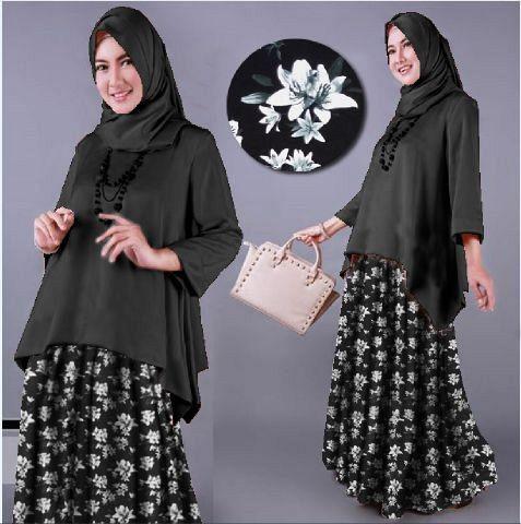 harga Nabila motif flower black gamis Tokopedia.com