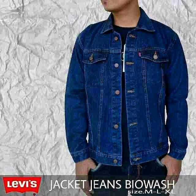 Jaket pria wanita jaket levis cowok jeans biru dongker garmen grosir