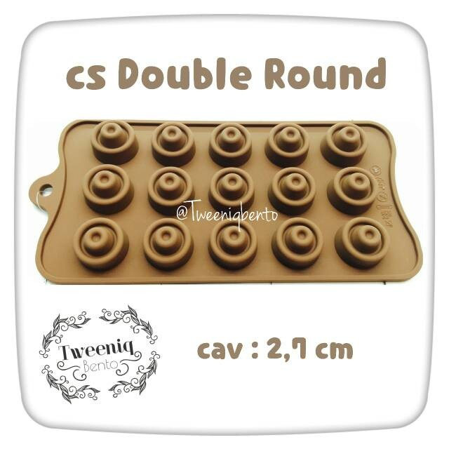 Cetakan silikon double round cokelat bulat jelly puding es batu