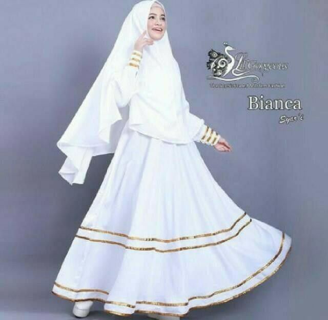 Jual Bianca Syar I White Baju Muslim Wanita Warna Putih Gamis Syari B Cinere Yummna Collection Tokopedia