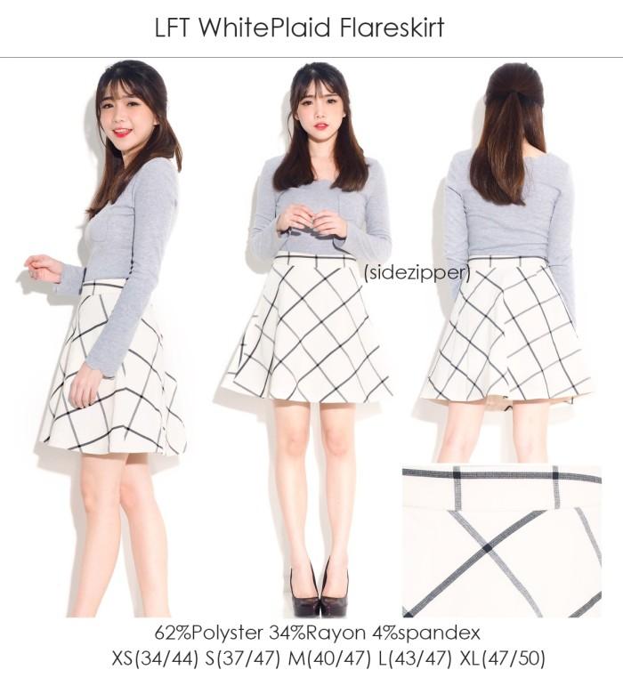 Foto Produk Rok Branded LFT WhitePlaid FlareSkirt dari Layla Butik