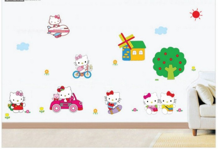 jual jual sticker dinding ay-9091 hello kitty bermain wall sticker
