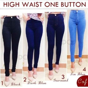 Hw one button | bigsize kec iceblue | soft jeans washed stretch6