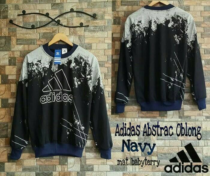 Sweater Adidas Abstrak Oblong Navy (jaket cowok, sweater cowok)