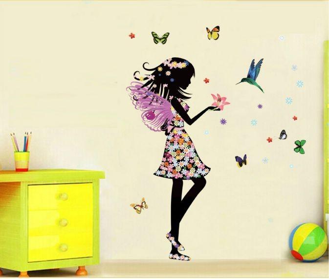 Wall sticker stiker dinding kamar dapur anak dewasa flower girl 50x70
