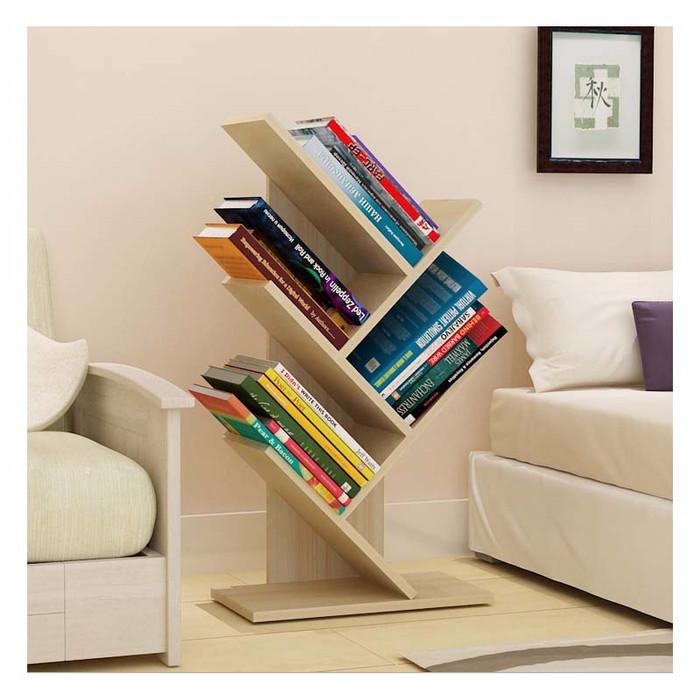 StarHome Rak Buku Serbaguna Kayu 4 Susun - Portable Book Shelf Coklat .