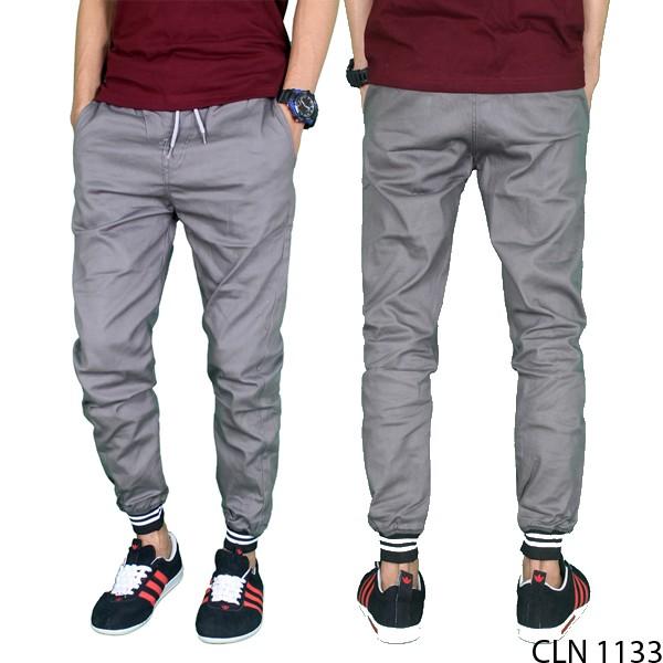 Celana Pria Jogger Panjang Modis Stretch Abu Muda CLN 1133