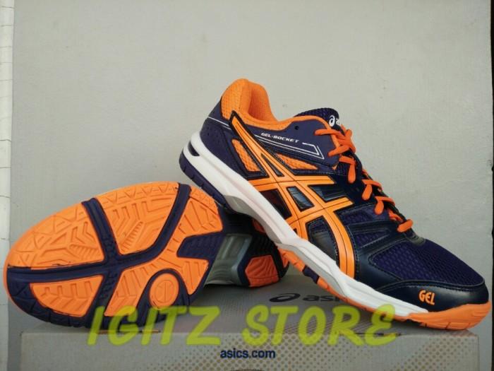 Jual  Original  Sepatu ASICS GEL-ROCKET 7 NAVY ORANGE - IGITZ STORE ... 5526ee1fb2