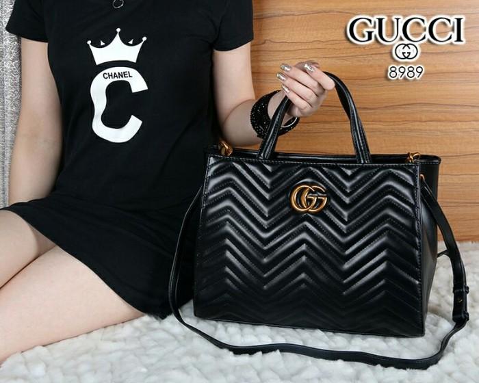 beaf9abdb30 Jual Tas Gucci Top Handle GG Marmont Matelasse HITAM Semi Ori 8989 ...