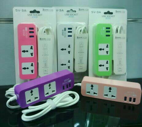 Usb socket 203 cable charger 3 ports 5 in 1