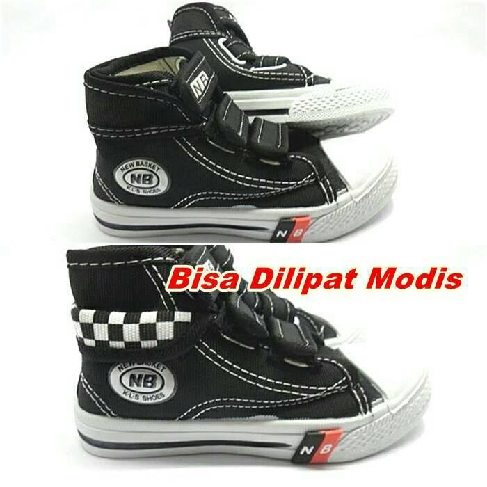 harga Sepatu anak sekolah tk sd smp nb sepatu boot hitam lipat Tokopedia.com