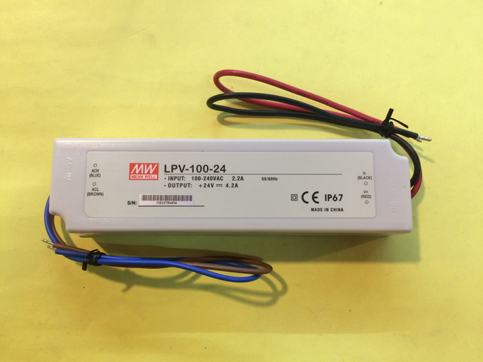 Power supply waterproof lpv-100-24 meanwell 24v 4.2a