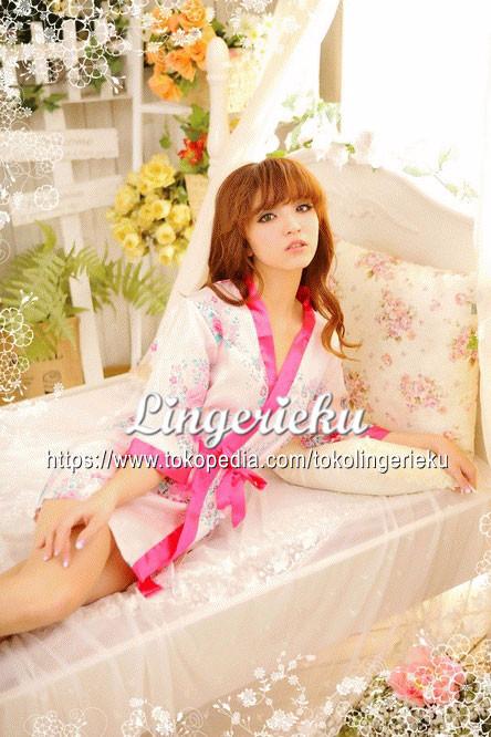 Baju Tidur Wanita Model Kimono Ala Jepang Satin Warna Putih LB 1609010 76bea9549c