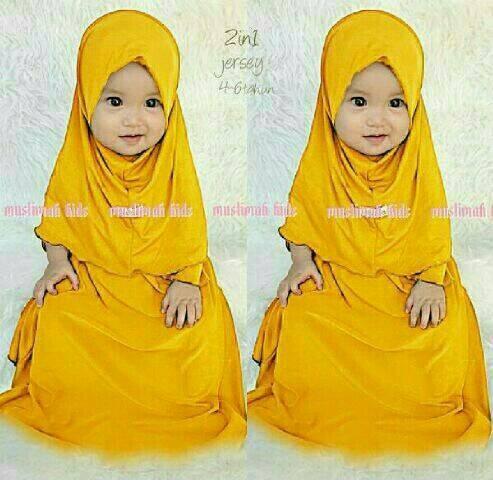 harga Baju muslim anak kuning / dress muslim anak hijau Tokopedia.com