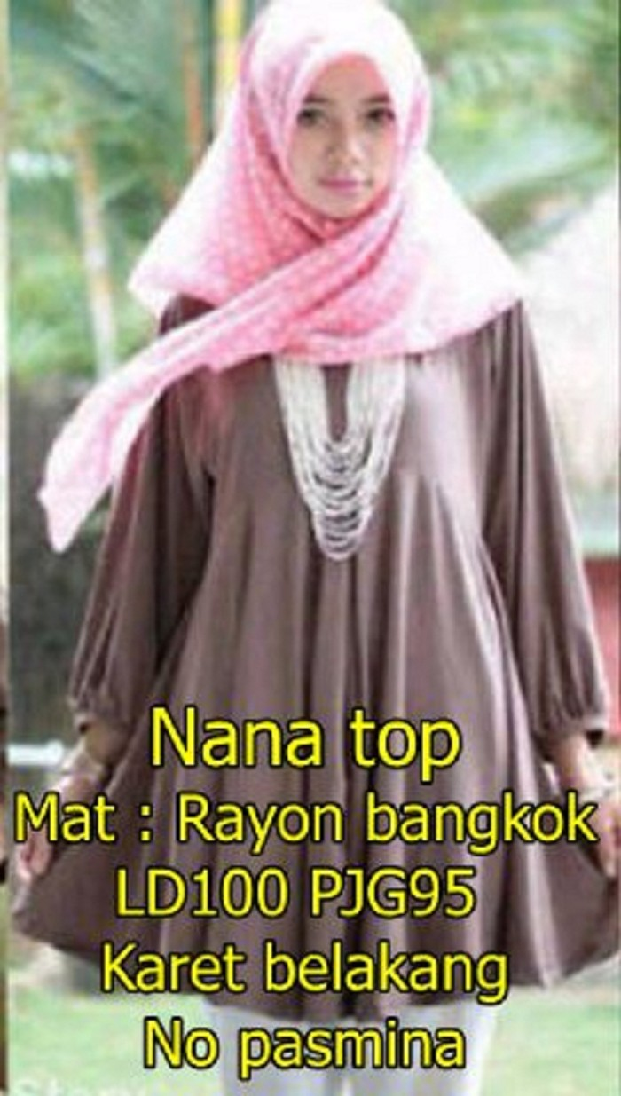 Katalog Dress Rayon Murah Baju Kekinian Sauqina M Sw Wanita Nana Top Bangkok Warna Mocca Keren