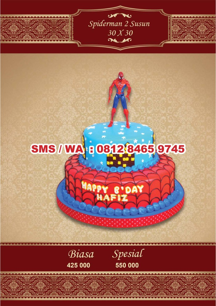Jual Kue Ulang Tahun Kue Ultah Spiderman 2 Susun 30x30 Cm Jakarta Timur Ulang Tahun Shop Tokopedia