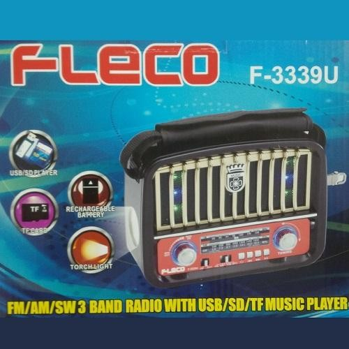 Speaker fleco f-3339u + lampu senter mp3 player musik radio audio