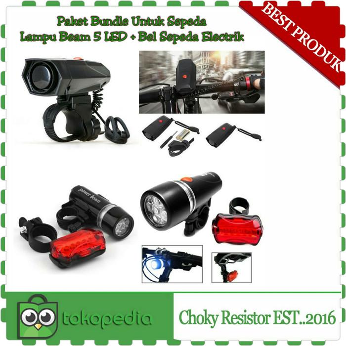 harga Paket bundle untuk sepeda lampu beam 5 led + bel sepeda electrik Tokopedia.com