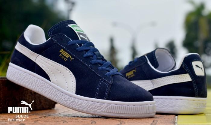 harga Sepatu pria murah puma suede navy white sport running casual sneakers Tokopedia.com